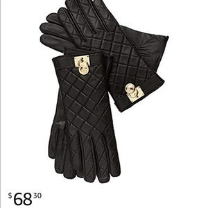 Michael kors quilted tech touch leather gloves